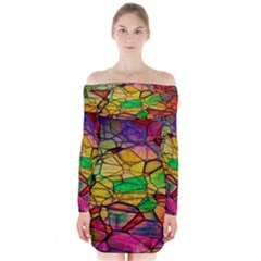 Abstract Squares Triangle Polygon Long Sleeve Off Shoulder Dress
