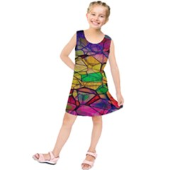 Abstract Squares Triangle Polygon Kids  Tunic Dress