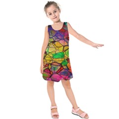 Abstract Squares Triangle Polygon Kids  Sleeveless Dress