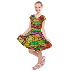 Abstract Squares Triangle Polygon Kids  Short Sleeve Dress