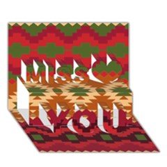 Background Plot Fashion Miss You 3d Greeting Card (7x5)