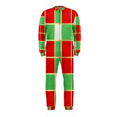 Christmas Fabric Textile Red Green Onepiece Jumpsuit (kids)