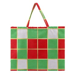Christmas Fabric Textile Red Green Zipper Large Tote Bag