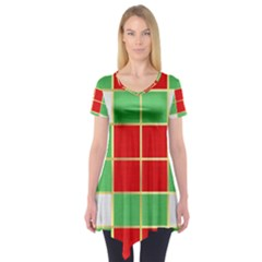 Christmas Fabric Textile Red Green Short Sleeve Tunic