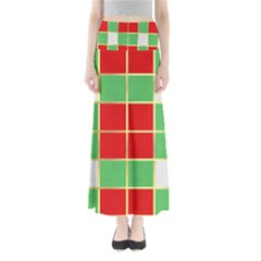 Christmas Fabric Textile Red Green Maxi Skirts