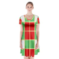 Christmas Fabric Textile Red Green Short Sleeve V Neck Flare Dress