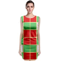 Christmas Fabric Textile Red Green Classic Sleeveless Midi Dress