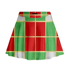 Christmas Fabric Textile Red Green Mini Flare Skirt