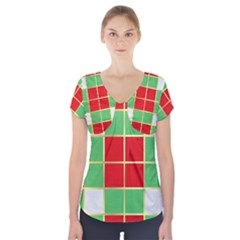 Christmas Fabric Textile Red Green Short Sleeve Front Detail Top