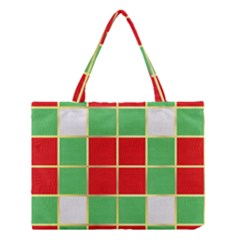 Christmas Fabric Textile Red Green Medium Tote Bag