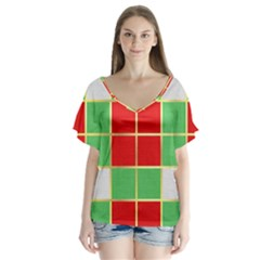 Christmas Fabric Textile Red Green Flutter Sleeve Top