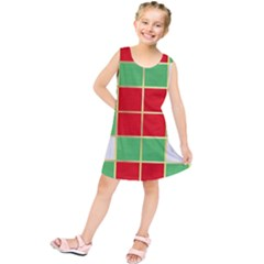 Christmas Fabric Textile Red Green Kids  Tunic Dress