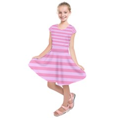 Fabric Baby Pink Shades Pale Kids  Short Sleeve Dress