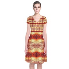 Fabric Design Pattern Color Short Sleeve Front Wrap Dress