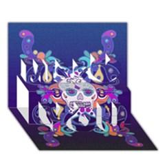 Día De Los Muertos Skull Ornaments Multicolored Miss You 3D Greeting Card (7x5)