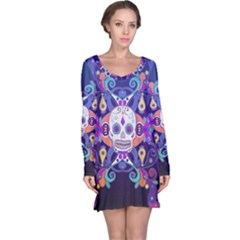 Día De Los Muertos Skull Ornaments Multicolored Long Sleeve Nightdress
