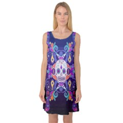 Día De Los Muertos Skull Ornaments Multicolored Sleeveless Satin Nightdress