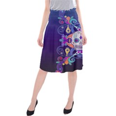 Día De Los Muertos Skull Ornaments Multicolored Midi Beach Skirt