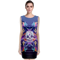 Día De Los Muertos Skull Ornaments Multicolored Classic Sleeveless Midi Dress