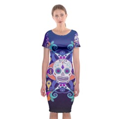 Día De Los Muertos Skull Ornaments Multicolored Classic Short Sleeve Midi Dress