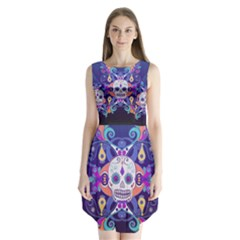 Día De Los Muertos Skull Ornaments Multicolored Sleeveless Chiffon Dress
