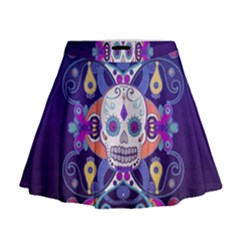Día De Los Muertos Skull Ornaments Multicolored Mini Flare Skirt