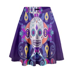 Día De Los Muertos Skull Ornaments Multicolored High Waist Skirt