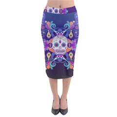 Día De Los Muertos Skull Ornaments Multicolored Midi Pencil Skirt