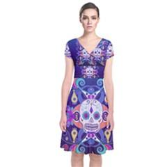 Día De Los Muertos Skull Ornaments Multicolored Short Sleeve Front Wrap Dress