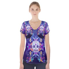 Día De Los Muertos Skull Ornaments Multicolored Short Sleeve Front Detail Top