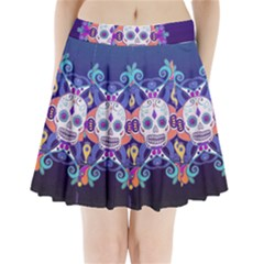 Día De Los Muertos Skull Ornaments Multicolored Pleated Mini Skirt