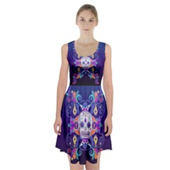 Día De Los Muertos Skull Ornaments Multicolored Racerback Midi Dress