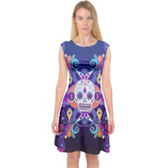 Día De Los Muertos Skull Ornaments Multicolored Capsleeve Midi Dress