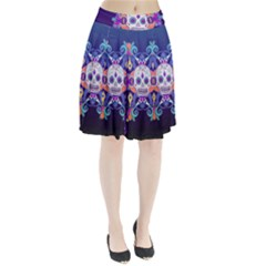 Día De Los Muertos Skull Ornaments Multicolored Pleated Skirt