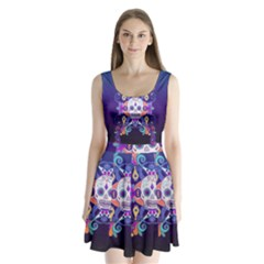 Día De Los Muertos Skull Ornaments Multicolored Split Back Mini Dress