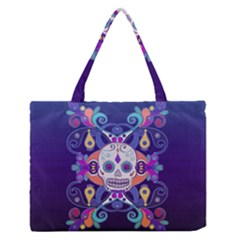 Día De Los Muertos Skull Ornaments Multicolored Medium Zipper Tote Bag