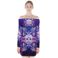 Día De Los Muertos Skull Ornaments Multicolored Long Sleeve Off Shoulder Dress