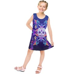 Día De Los Muertos Skull Ornaments Multicolored Kids  Tunic Dress