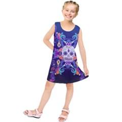 Día De Los Muertos Skull Ornaments Multicolored Kids  Tunic Dress
