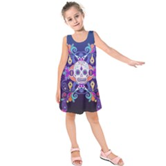 Día De Los Muertos Skull Ornaments Multicolored Kids  Sleeveless Dress