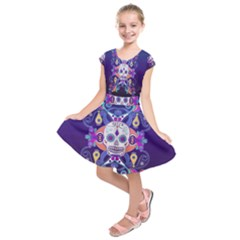 Día De Los Muertos Skull Ornaments Multicolored Kids  Short Sleeve Dress