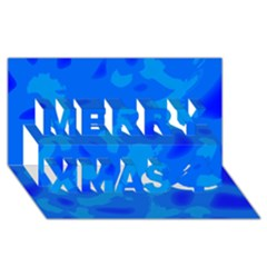Simple blue Merry Xmas 3D Greeting Card (8x4)