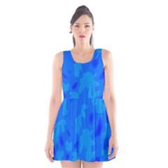 Simple Blue Scoop Neck Skater Dress