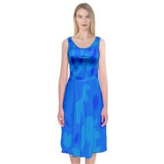Simple blue Midi Sleeveless Dress