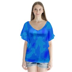 Simple blue Flutter Sleeve Top