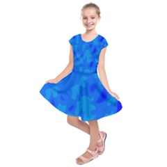 Simple blue Kids  Short Sleeve Dress