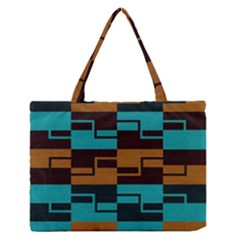 Fabric Textile Texture Gold Aqua Medium Zipper Tote Bag
