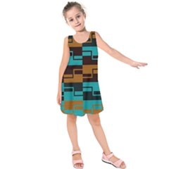 Fabric Textile Texture Gold Aqua Kids  Sleeveless Dress