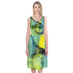 Light Blue Yellow Abstract Fractal Midi Sleeveless Dress