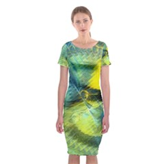 Light Blue Yellow Abstract Fractal Classic Short Sleeve Midi Dress